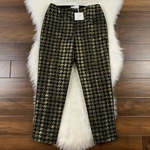 RSVP Talbots Metallic Gold Houndstooth Ankle Pants